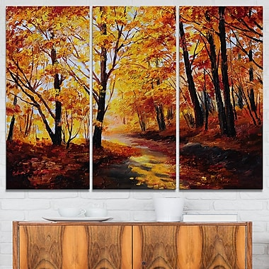 Forest in Autumn Landscape Metal Wall Art