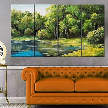 Summer Day Lake in Forest Landscape Metal Wall Art, 48x28, 4 Panels, (MT6024-271)