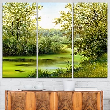 Green Summer Landscape Metal Wall Art, 36x28, 3 Panels, (MT6025-36-28)
