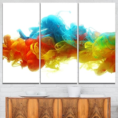 Colourful Ink in Water Abstract Metal Wall Art, 36x28, 3 Panels, (MT6027-36-28)