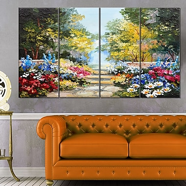 Summer Forest with Flowers Landscape Metal Wall Art, 48x28, 4 Panels, (MT6028-271)