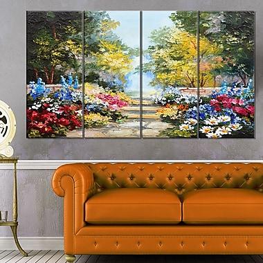 Art mural en métal, paysage, forêt d'été et fleurs, 48 x 28 po, 4 panneaux (MT6028-271)