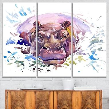 Art mural en métal d'animal, hippopotame en aquarelle, 36 x 28 po, 3 panneaux (MT6032-36-28)