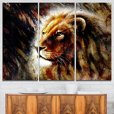 Majestically Peaceful Lion Animal Metal Wall Art, 36x28, 3 Panels, (MT6039-36-28)