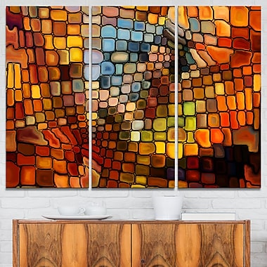 Dreaming of Stained Glass Abstract Metal Wall Art, 36x28, 3 Panels, (MT6043-36-28)