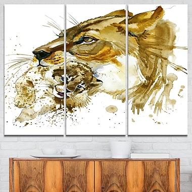 Art mural en métal à thème animal, dessin d'une lionne soulevant son lionceau