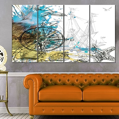 Marine Background Illustration Art, Animal Metal Wall Art, 48x28, 4 Panel, (MT6064-271)
