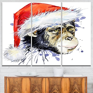Art mural, singe père Noël, 36 x 28, 3 panneaux (MT6065-36-28)