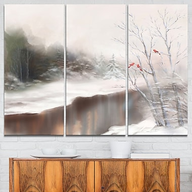 Snowy Silence Landscape Metal Wall Art, 36x28, 3 Panels, (MT6067-36-28)