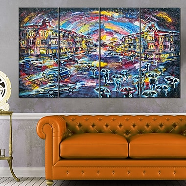 Surreal City at Night Cityscape Large Metal Wall Art, 48x28, 4 Panels, (MT6069-271)