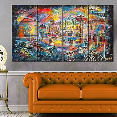 Night City with People Cityscape Metal Wall Art