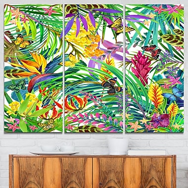 Tropical Leaves and Flowers Floral Metal Wall Art, 36x28, 3 Panels, (MT6075-36-28)