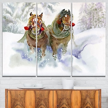 Horses Running in Winter Animal Metal Wall Art, 36x28, 3 Panels, (MT6076-36-28)