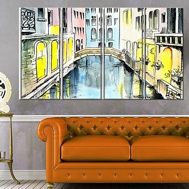 Canal in Venice Cityscape Metal Wall Art, 48x28, 4 Panels, (MT6077-271)