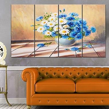 Art mural en métal de fleurs, bouquet sur table en bois, 48 x 28 po, 4 panneaux (MT6078-271)