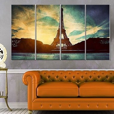 Eiffel Tower Retro Style Cityscape Metal Wall Art, 48x28, 4 Panels, (MT6079-271)