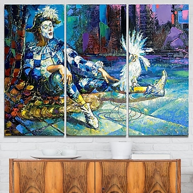 The Harlequin and White Parrot Metal Wall Art, 36x28, 3 Panels, (MT6080-36-28)