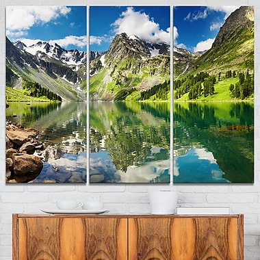 Reflecting Mountain Lake Landscape Metal Wall Art, 36x28, 3 Panels, (MT6083-36-28)