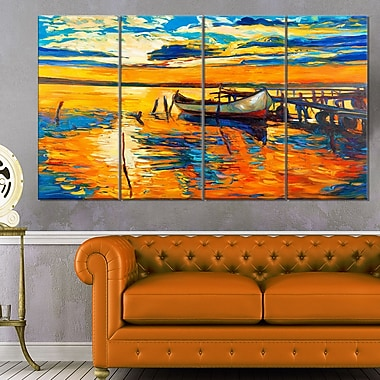 Boat and Jetty at Sunset Landscape Metal Wall Art, 48x28, 4 Panels, (MT6084-271)