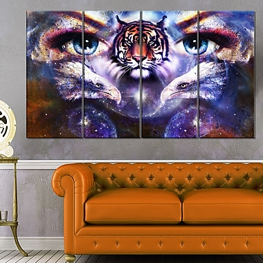 Tiger, Eagles and Woman Eyes Collage Metal Wall Art