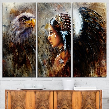 Indian Woman with Feather Headdress Metal Wall Art, 36x28, 3 Panels, (MT6088-36-28)