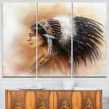 Indian Woman in Traditional Clothing Metal Wall Art, 36x28, 3 Panels, (MT6089-36-28)