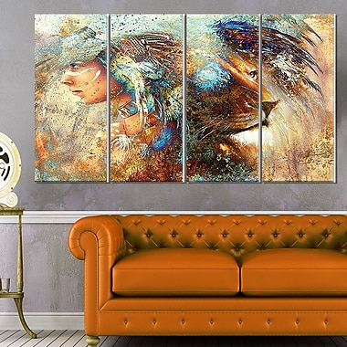 Indian Woman Collage with Lion Indian Metal Wall Art, 48x28, 4 Panels, (MT6090-271)