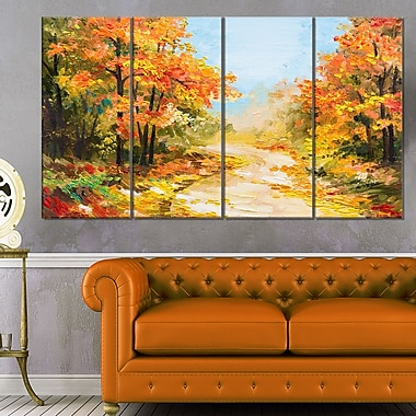 Path in Autumn Forest Landscape Metal Wall Art, 48x28, 4 Panels, (MT6092-271)