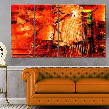 Abstract Fire Red Abstract Metal Wall Art, 48x28, 4 Panels, (MT6094-271)