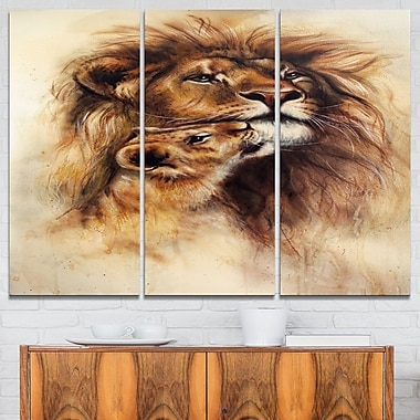 Loving Lioness Animal Metal Wall Art, 36x28, 3 Panels, (MT6096-36-28)