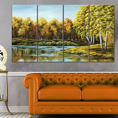 Green Autumn Lake Landscape Metal Wall Art, 48x28, 4 Panels, (MT6097-271)