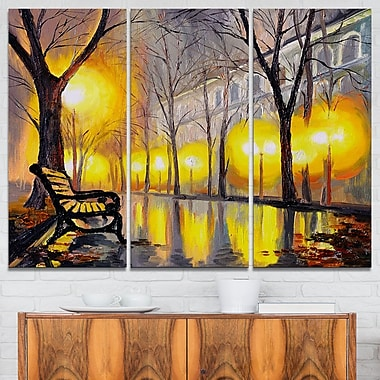 Empty Autumn Street Landscape Metal Wall Art, 36x28, 3 Panels, (MT6099-36-28)