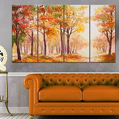 Autumn Everywhere Forest Landscape Metal Wall Art, 48x28, 4 Panels, (MT6100-271)