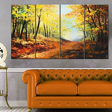 Autumn Forest Pathway Landscape Metal Wall Art, 48x28, 4 Panels, (MT6101-271)