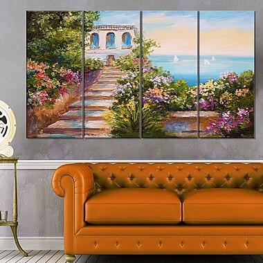 House near the Sea Landscape Metal Wall Art, 48x28, 4 Panels, (MT6104-271)