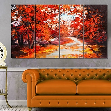 Forest in the Fall Landscape Metal Wall Art, 48x28, 4 Panels, (MT6106-271)