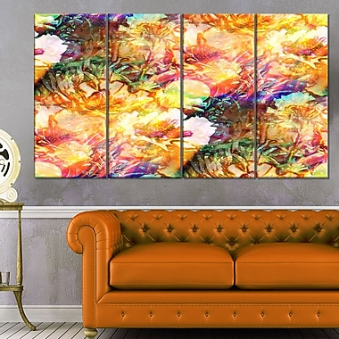 Bokeh Flowers Seamless Floral Metal Wall Art, 48x28, 4 Panels, (MT6107-271)
