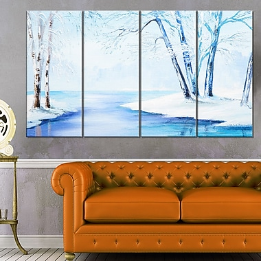 River in Snowy Winter Landscape Large Metal Wall Art, 48x28, 4 Panels, (MT6108-271)