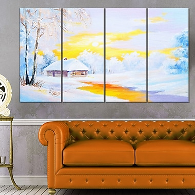 Frozen River in Winter Landscape Metal Wall Art, 48x28, 4 Panels, (MT6109-271)