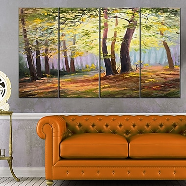 Spring Forest with Sunlight Landscape Metal Wall Art, 48x28, 4 Panels, (MT6110-271)