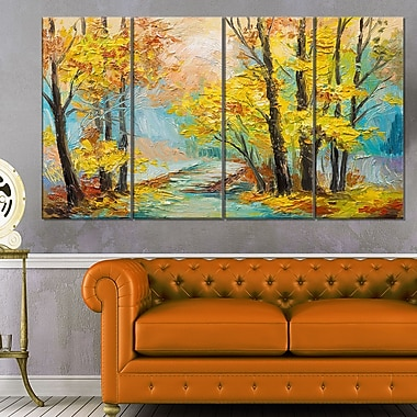 Yellow Falling Forest Landscape Metal Wall Art, 48x28, 4 Panels, (MT6111-271)