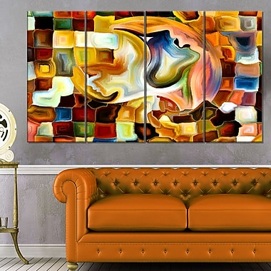 Way of Inner Paint Abstract Metal Wall Art, 48x28, 4 Panels, (MT6113-271)