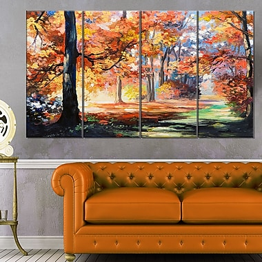 Fall Trail in Forest Landscape Metal Wall Art, 48x28, 4 Panels, (MT6114-271)