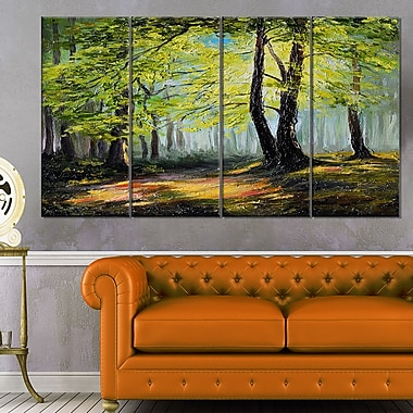 Green Autumn Forest Landscape Metal Wall Art