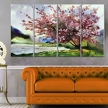 Tree with Spring Flowers Floral Metal Wall Art, 48x28, 4 Panels, (MT6120-271)
