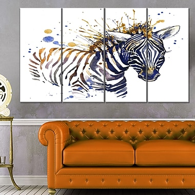 Little Zebra Illustration Art, Animal Metal Wall Art, 48x28, 4 Panels, (MT6126-271)