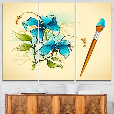 Tree with Spring Flowers Floral Metal Wall Art, 36x28, 3 Panels, (MT6130-36-28)