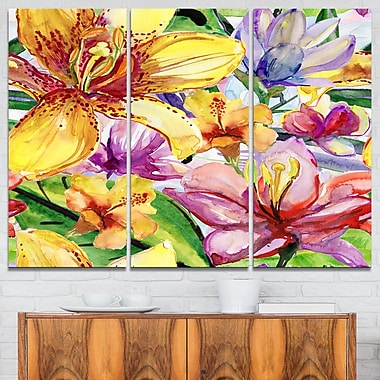 Lily Flowers Illustration Art, Floral Metal Wall Art, 36x28, 3 Panels, (MT6131-36-28)