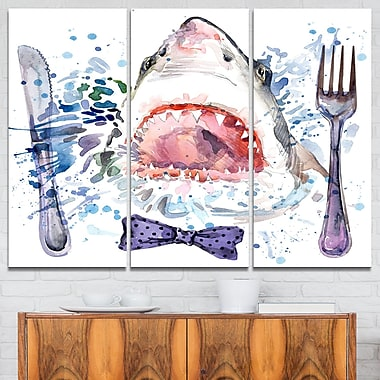 Hungry Shark Illustration Animal Metal Wall Art