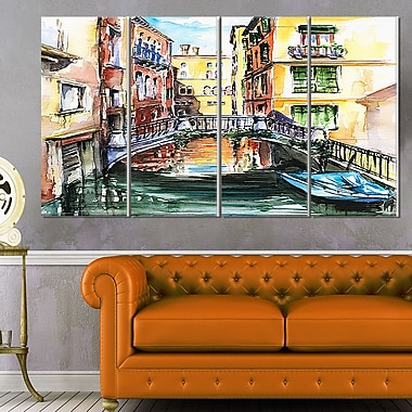 Venice Canal Meeting Bridge Cityscape Metal Wall Art, 48x28, 4 Panels, (MT6135-271)